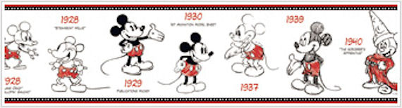 Mickey Mouse 1928-2010 Prepasted Border - Wall Sticker Outlet