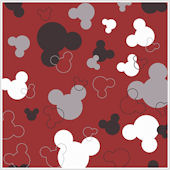Mickey Mouse Heads Red and Black Wallpaper