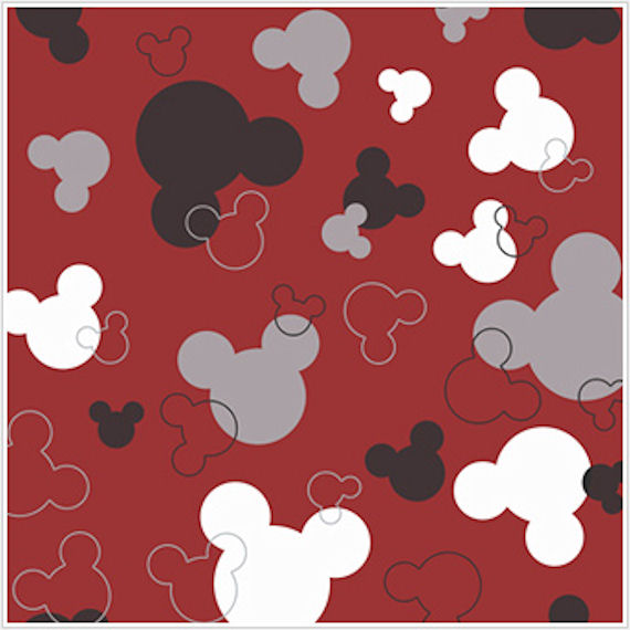 Mickey Mouse Heads Red and Black Wallpaper - Wall Sticker Outlet