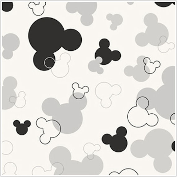 Mickey Mouse Heads White and Black Wallpaper - Wall Sticker Outlet