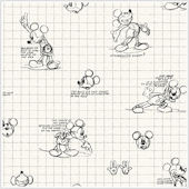 Mickey Mouse Sketches Black and White Wallpaper