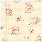 Mickey Mouse Sketches Red and Almond Wallpaper