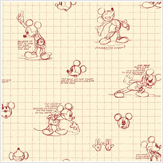 Mickey Mouse Sketches Red and Almond Wallpaper - Wall Sticker Outlet