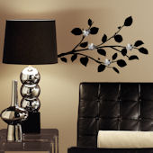 Modern Black Branch With Flower Mirror Wall Decals