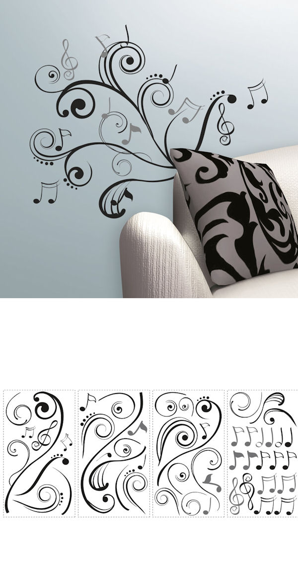 music note scroll wall decals