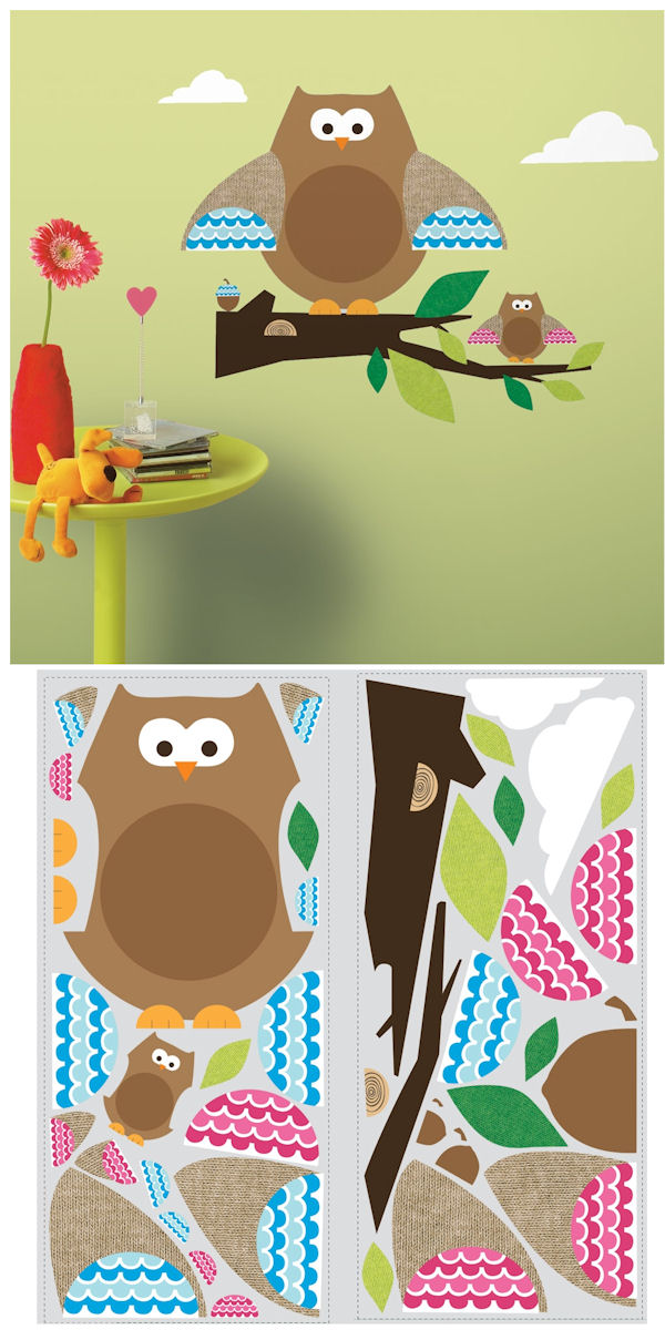ONE decor Owls and Branches Giant Wall Decals - Wall Sticker Outlet