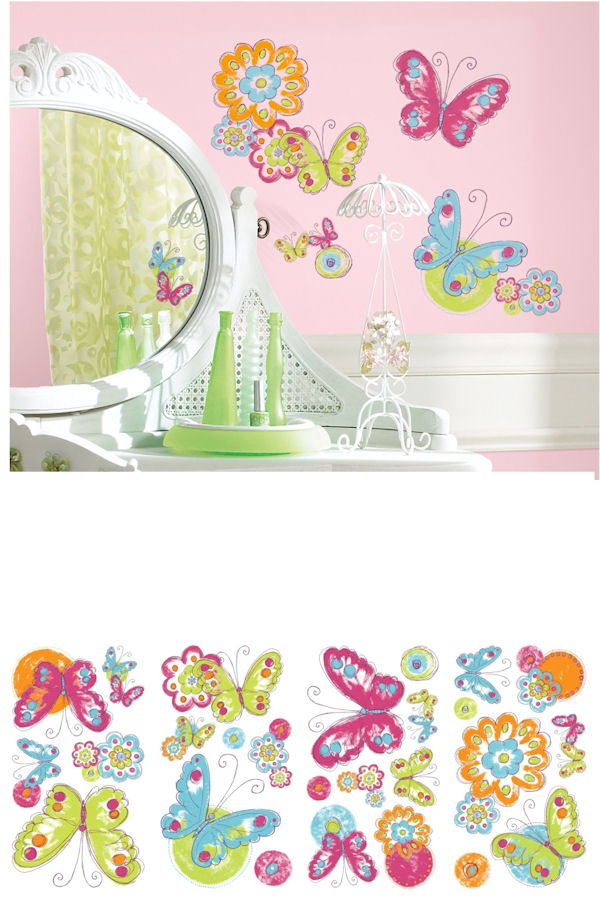 Brushwork Painted Butterfly Wall Decals - Wall Sticker Outlet