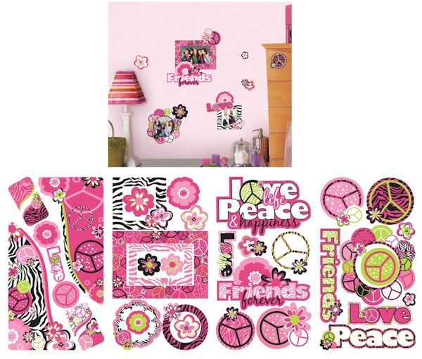 Peace Signs Frames Wall Decals with Glitter - Wall Sticker Outlet