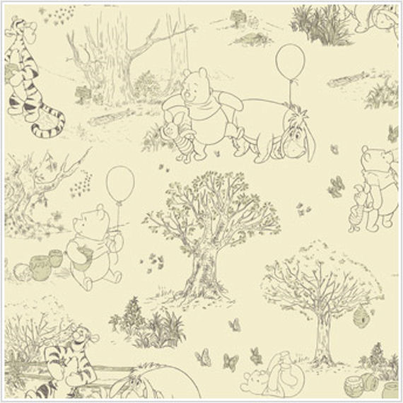 Pooh and Friends Tolie Cream and Black Wallpaper - Wall Sticker Outlet