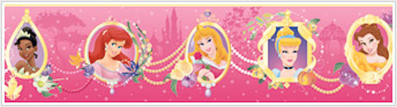 Princess Frames Pink Pasted Wallpaper Border - Wall Sticker Outlet
