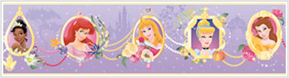 Princess Frames Purple Prepasted Wallpaper Border - Wall Sticker Outlet