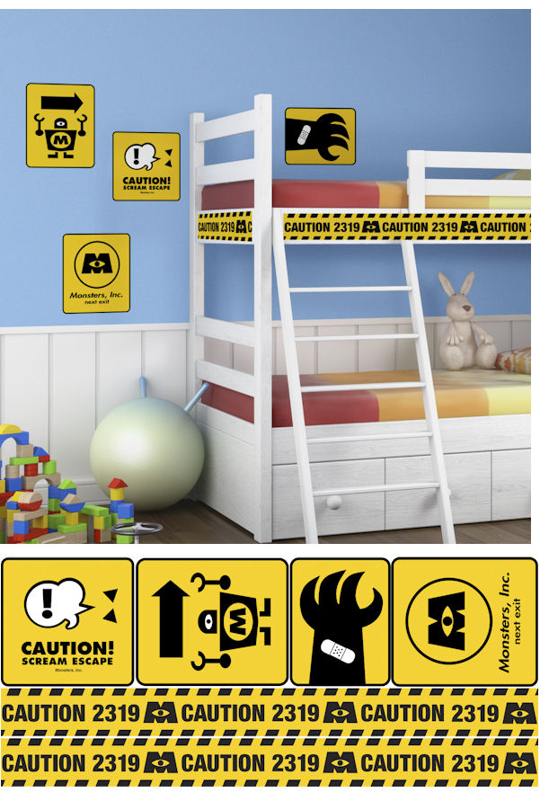Monsters Inc Caution Signs Giant Wall Decals - Wall Sticker Outlet