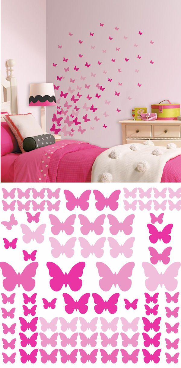 Pink Flutter Butterflies Peel and Stick Decals - Wall Sticker Outlet