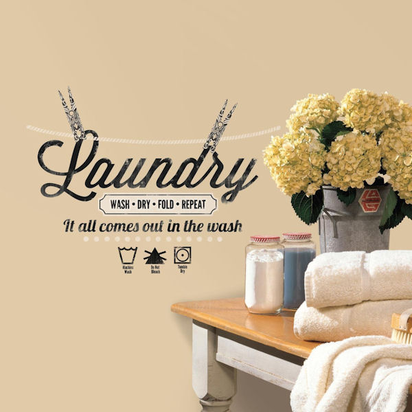 Laundry quote peel and stick wall decals