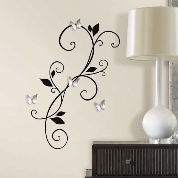 Scroll Sconce With Butterfly Mirror Wall Decals - Wall decals mirror