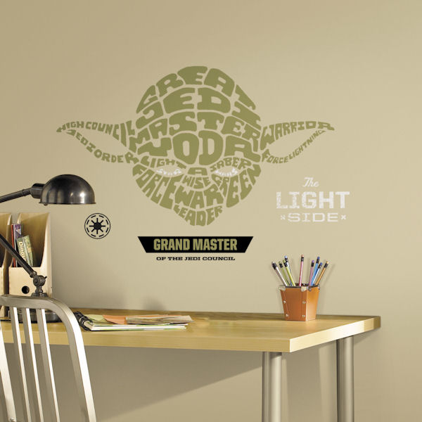 star wars yoda typographic wall decal. Black Bedroom Furniture Sets. Home Design Ideas