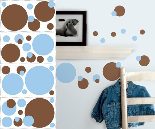 Blue and Brown Dots Peel and Stick Decals - Wall Sticker Outlet