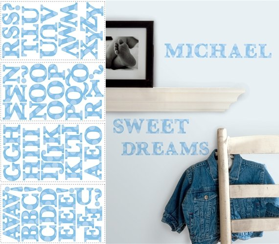 Blue Letters Peel and Stick Appliques - Wall Sticker Outlet