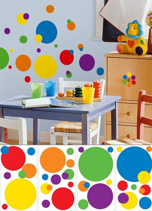 Colorful Dots Peel and Stick Appliques - Wall Sticker Outlet
