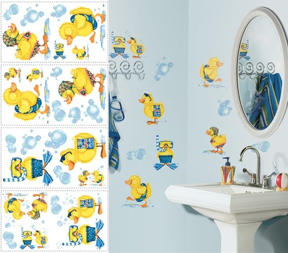 Ducks and Bubbles Peel and Stick Appliques - Kids Wall Decor Store