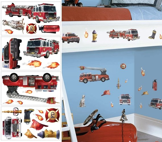 Fire Brigade Peel and Stick Appliques - Wall Sticker Outlet