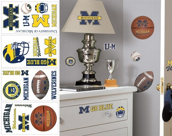 Michigan Wolverines Peel and Stick Appliques - Kids Wall Decor Store