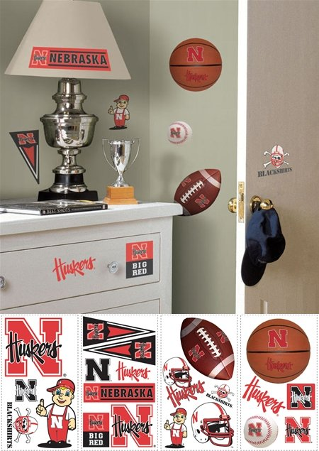 Nebraska Huskers Peel and Stick Appliques - Kids Wall Decor Store