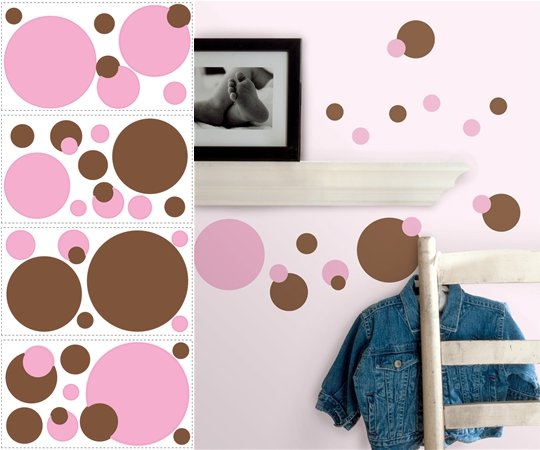 Pink and Brown Dots Appliques - Wall Sticker Outlet