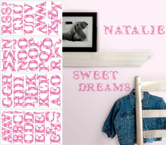 Pink Letters Peel and Stick Appliques - Wall Sticker Outlet