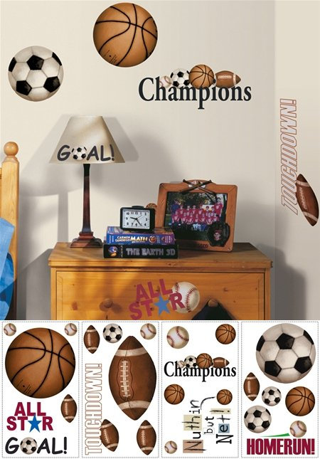Play Ball Sports Peel and Stick Appliques - Kids Wall Decor Store