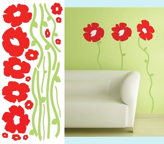 Poppies Peel and Stick Appliques - Kids Wall Decor Store