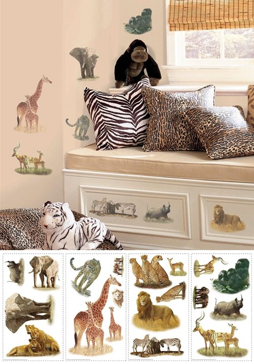Safari Jungle Peel and Stick Appliques - Wall Sticker Outlet