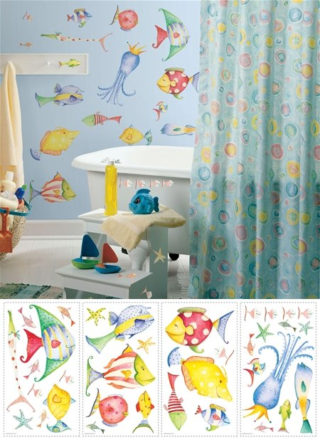 Sea Creatures Peel and Stick Appliques - Wall Sticker Outlet