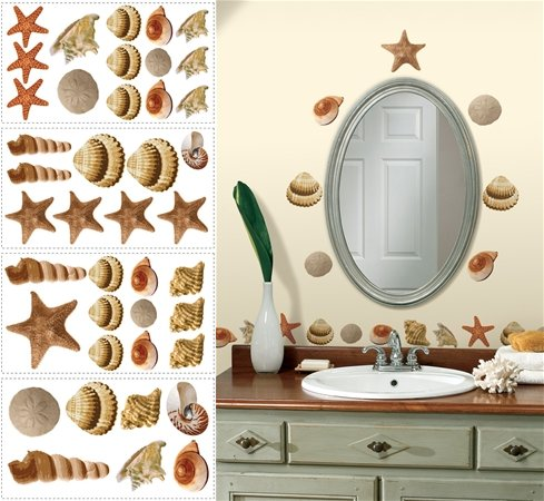 Sea Shells Peel and Stick Appliques - Kids Wall Decor Store