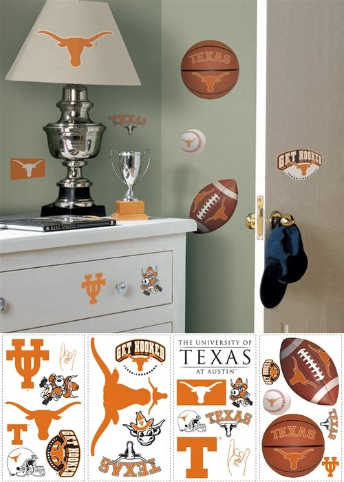 Texas Longhorns Peel and Stick Appliques - Kids Wall Decor Store