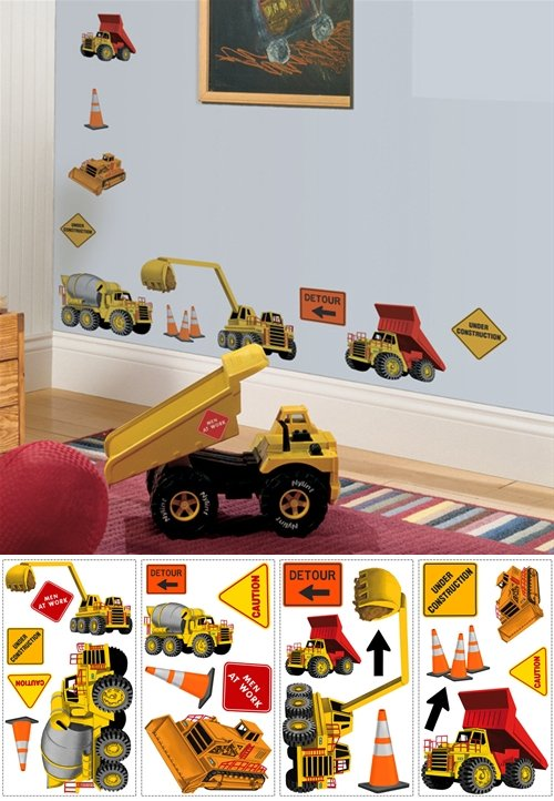 Under Construction Peel and Stick Appliques - Kids Wall Decor Store