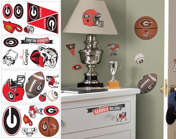 University of georgia bulldogs appliques for Georgia bulldog bedroom ideas