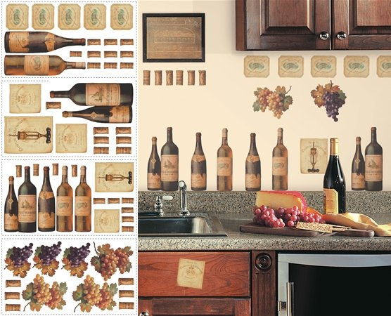 Wine Peel and Stick Appliques - Wall Sticker Outlet