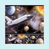 Space Travel Peel and Stick Wall Border