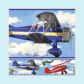 Vintage Airplanes Wall Border
