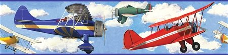 Vintage Airplanes Peel and Stick Wall Border - Wall Sticker Outlet