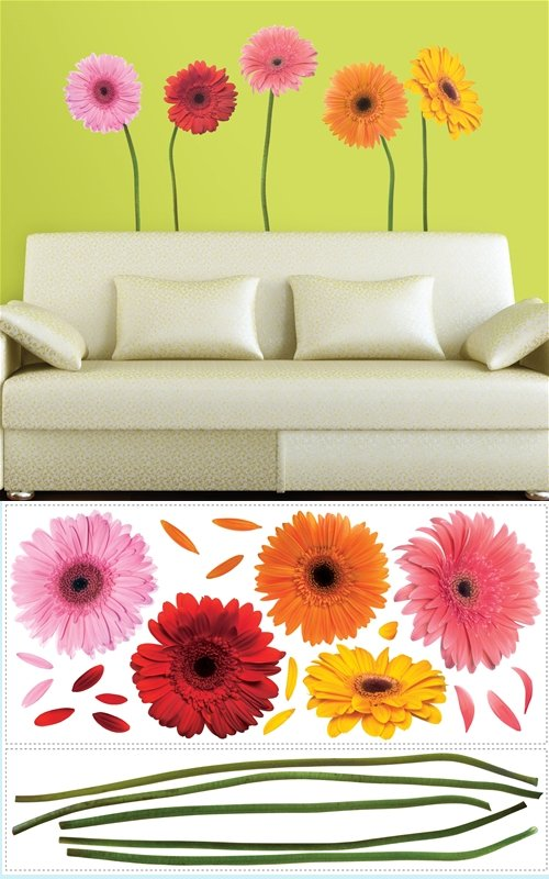 Gerber Daisies Wall Mural Stickers - Kids Wall Decor Store