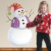 Build a Snowman Peel and Stick Wall Mural