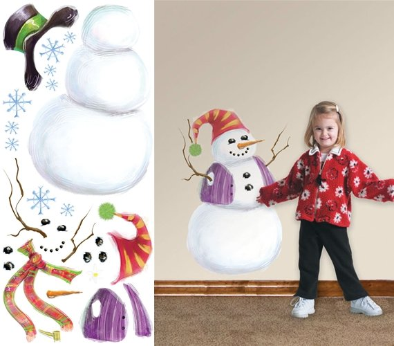 Build a Snowman Peel and Stick Wall Mural - Wall Sticker Outlet