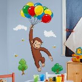 Cotton candy land castle wall mural sticker for Curious george giant wall mural