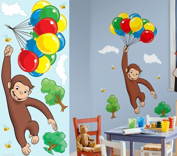 Curious george wall decals 1000 ideas about curious for Curious george mural