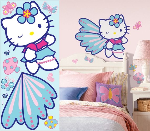 hello kitty girls room. Hello Kitty Giant Wall Mural - Wall Sticker Outlet Girls and boys rooms take