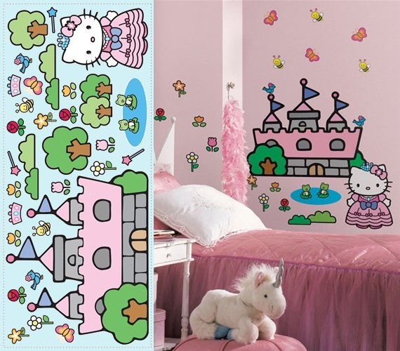Hello Kitty Princess Castle Giant Wall Mural - Kids Wall Decor Store