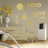 Gold Love with Hearts and Arrows Wall Decals