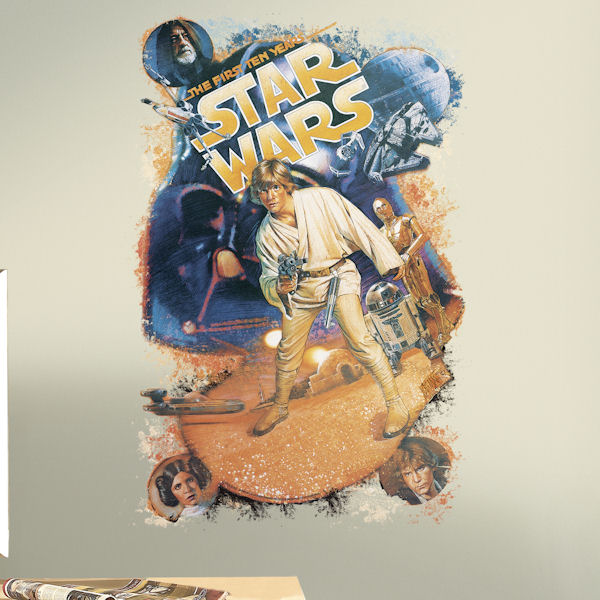 Star Wars Retro Mega Peel and Stick Giant Decal - Wall Sticker Outlet